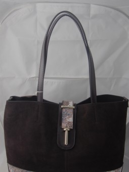 Кафява велурена чанта