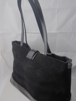 Луксозна дамска чанта от естествен велур и лак