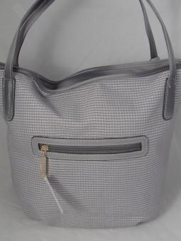 Сива чанта с камъни и аксесоари