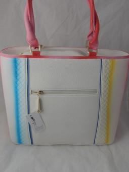Бяла чанта с цикламени дръжки