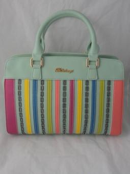 Чанта цвят мента с цветни раета