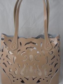 Чанта с лазарно рязана  естествена кожа
