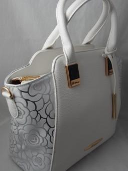 Дамска чанта със сребърни цветя