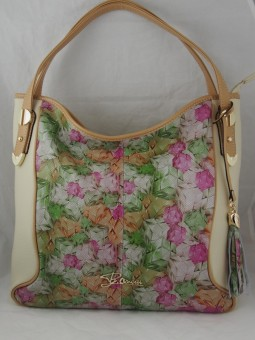 Дамска чанта с розови цветя