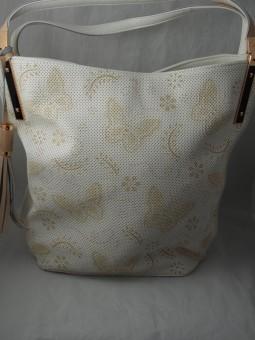 Чанта с пеперуди от перфорирана кожа