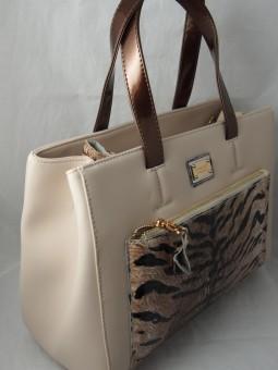 Бежова чанта с тигрови мотиви