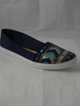 Дамски обувки от дънков плат с пайети