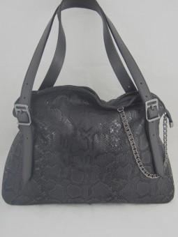 Чанта змийско черно голяма