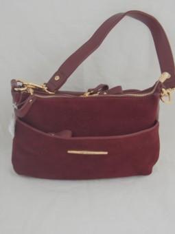 Елегантна малка чанта от естествен велур и еко кожа