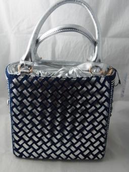 Малка чанта от кожа и син деним