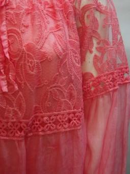 Дамска блуза от коприна и дантела в две части