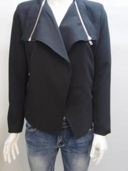 Дамско яке от текстил със сребристи ципове