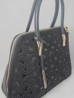 Стилна дамска чанта с велур и камъни