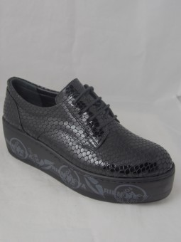 Обувка на платформа от естествен кож