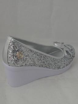 Сребристи обувки на плат